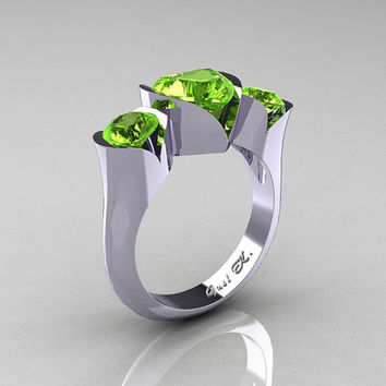 Nature Classic 10K White Gold 2.0 Ct Heart Peridot Three Stone Floral Engagement Ring Wedding Ring R434-10KWGDP