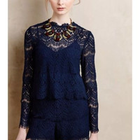 NWT ANTHROPOLOGIE by by SAYLOR LAYERED LACE ROMPER S