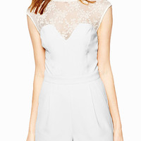 White Short Cap Sleeve Cut-Out Floral Lace Romper