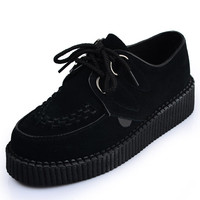 Handmade  Suede Lady's Lace Up Flat Platform Sexy Women's Goth Creepers Punk Punk Casual Creeper Shoes Black