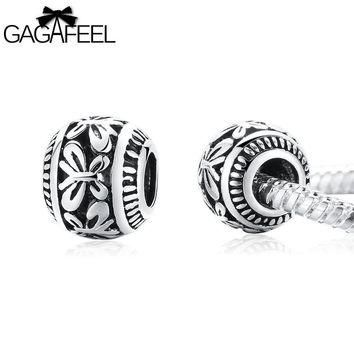 GAGAFEEL Round Butterfly Bead Spring DIY Beads Fit For Pandora Necklace Bangle Bracele
