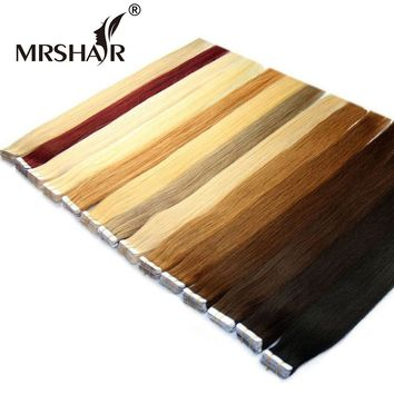 """MRSHAIR Tape In Human Hair Extensions Non Remy 16"""" 18"""" 20"""" 22"""" 24"""" 20pcs Straight Brazilian Hair On Invisible Tape PU Skin Weft"""