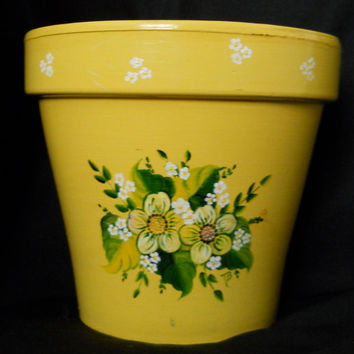 Flower Pot Cheery Yellow 70s Ceramic Planter Hand Painted with Flowers and Daisies