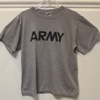 Army // Armed Forces // T-Shirt // Crew Neck // Made in USA // Grey // Medium