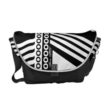RICKSHAW HANDBAG BLACK AND WHITE HAVIC ACD MESSENGER BAG