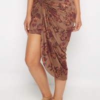 Light Brown Rosy Faux Suede Knotted Skirt | Midi | rue21