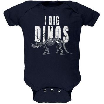 CREYCY8 I Dig Dinos Dinosaur Fossil Bones Triceratops Soft Baby One Piece