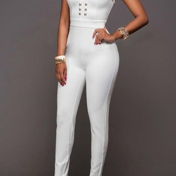 White Plain Studded High Waisted Fashion Long Jumpsuit