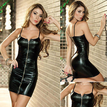 Sexy Women Synthetic Leather Zipper Dress Sleeveless Strappy  Bodycon Temptation Package Hip Dress  Evening Party  Dress
