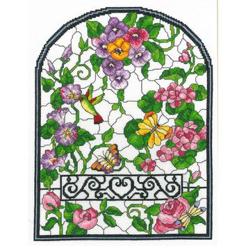 """Summer Stained Glass Counted Cross Stitch Kit-10""""X13.25"""" 14 Count"""