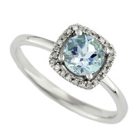 Effy Aquarius 14Kt. White Gold Aquamarine and Diamond Ring