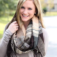 Plaid Lover Scarf - Black + Taupe