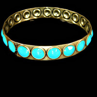 Brass Bangle Bracelet Raised Turquoise Enamel