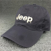 Unisex Retro Gray Embroidered Jeep Cotton Baseball Hat