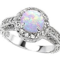 Original Star K(tm) 7mm Round Created Opal Engagement Ring LIFETIME WARRANTY: Jewelry: Amazon.com