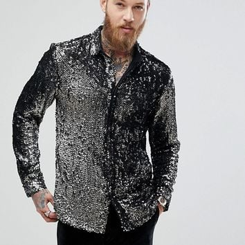 ASOS Regular Fit Sequin Shirt In Silver at asos.com