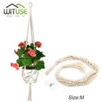 WITUSE 4x Hanging Macrame Plant Hanger Planter Holder Basket For Flower Pots Indoor Outdoor Garden Decoration Cotton 74 91 117cm