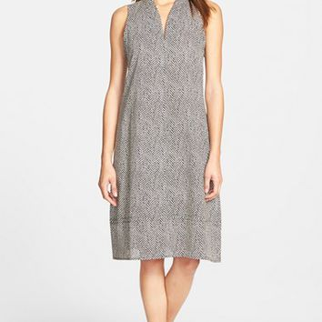 Petite Women's Eileen Fisher Print Cotton V-Neck Shift Dress