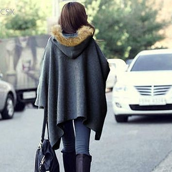 Alishebuy Hot! Korean Style Winter Coat Ponchos Capes jacket Hooded Batwing Wool Fur Shawl Outerwear Fur Women Coat SV19