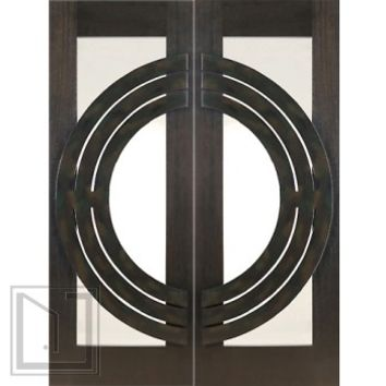 Pair of 2-1/4 Thick Mahogany Doors Insulated Low-E Glass Iron Work