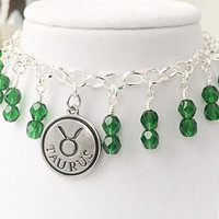Taurus Zodiac Jewelry, Emerald Bracelet, May Zodiac Birthstone, Taurus Sign
