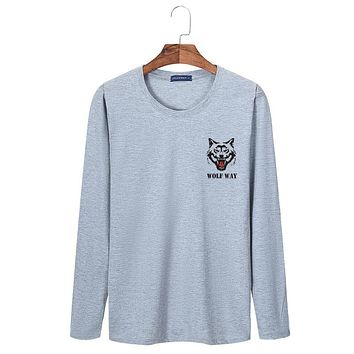 T shirt for men spring long t shirts casual long sleeve T-shirt Wolf print Tops