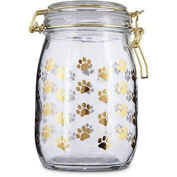 Harmony Gilded Paw Glass Pet Treat Jar | Petco