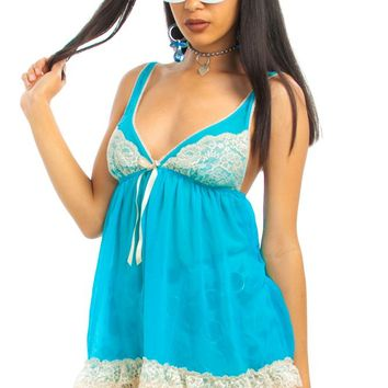 Vintage 90's Turquoise Babydoll Lingerie Top - XS/S