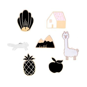 Trendy Pineapple Apple House Mountain Fox Sheep Button Brooch Pin Denim Jacket Shirt Pins Badge Cartoon Jewelry Gifts for Kids Girls AT_94_13