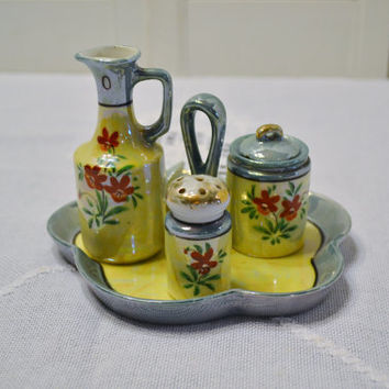 Vintage Lusterware Cruet Set Asian Kitchen Decor Yellow Blue Floral Japan PanchosPorch