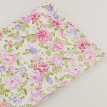 100% cotton twill sewing cloth pink rose floral fabrics design textile tecido  tissue patchwork bedding quilting fat quarter