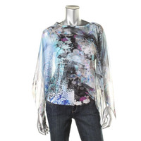 Style & Co. Womens Petites Printed Drapey Blouse