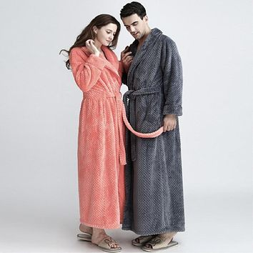 Flannel Couples Robes with Pockets Solid Colors Ankle-Length Thicker Flano Robe Sets for Women&Men Unisex Model Lovely bathrobe