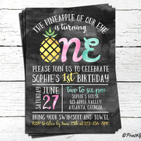 1st Birthday Invitation // Personalized Printable Pineapple of our eye First Birthday Invitation // Pineapple Invite // Summer invite