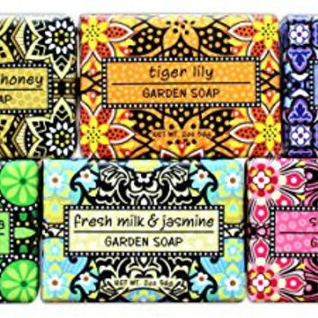 Bundle of 6 Greenwich Bay Garden Sampler Soaps - 2oz Soaps in The Following Scents: Fresh Milk & Jasmine, Tiger Lily, Sugar Rose, Chamomile & Honey, Lavender Sunflower, and Cucumber & Freesia
