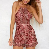 DCCKCW9 Lace Up Embroidery Strap Romper Jumpsuit