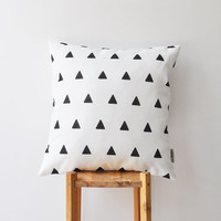"Monochrome Decorative Pillow, Modern Nursery Pillow, Geometric Kids Pillow, Teen Pillow, Throw Pillow 16"" x 16"""