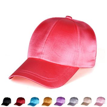 Trendy Winter Jacket Silky Satin Cap Gorras Solid Color Satin Silk Hat Fashion Women Casual Baseball Hats Ladies Snapback Sport Hip Hop Cap AT_92_12
