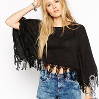 ASOS TALL Poncho Top with Lace Trim