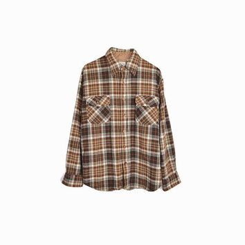 Vintage 70s Brown Plaid Wool Shirt / Boyfriend Shirt - men's medium