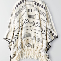 AEO BLACK AND WHITE PONCHO