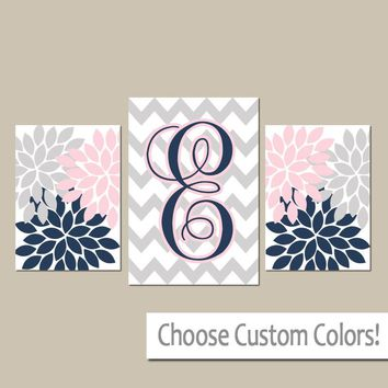 Pink Navy Nursery Wall Art, Personalized Baby Girl Gift, Monogram Flower Nursery Decor, CANVAS or Prints, Monogram Set of 3 Above Crib Decor