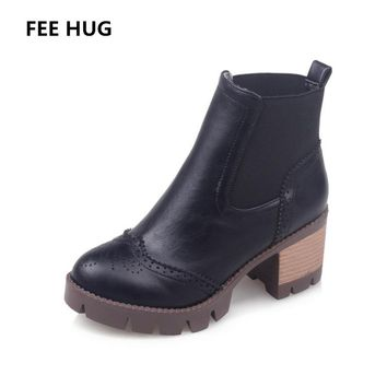 FEE HUG Winter Autumn Women's Boots Female Ankle Boots With Cut Outs Square Heels Round Toe Platform Pu Soft Leather Women Boots