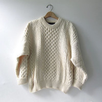 vintage wool sweater. fisherman's sweater. Irish wool sweater.