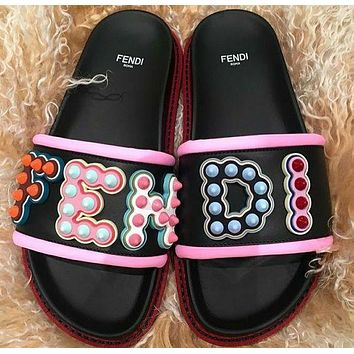 FENDI Leather Slides Slippers