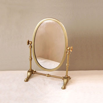 Brass Swivel Vanity Dresser Mirror