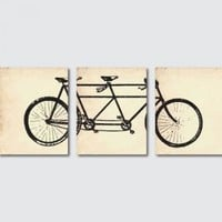 Vintage Wall Art Print Tandem Bike Wall Art Set of Three 8 x 10 Prints Wall by snewberrydesigns