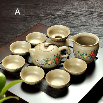 Coarse Pottery Old Rock Mud Creative Japanese Tea Ceremony Tea Sea Kung Fu Tea Set Ceramic Teapot Sets Free Shipping