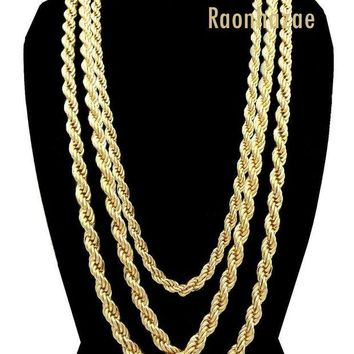 DCCKH7E Men Stainless Steel 14k Gold Plated 3 to7mm wide 20' 24' 30' Rope Chain Necklace