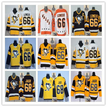 Stitched NHL Pittsburgh Penguins #66 Mario Lemieux # 68 Jaromir Jagr White/Black/Yellow Hockey Jerseys Ice Jersey do Drop Shipping,Mix Order